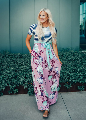 Steal This Moment Striped and Floral Tie Maxi Dress Mauve