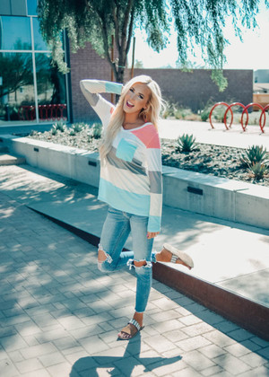 Spring Fling Color Block Multi Color Top