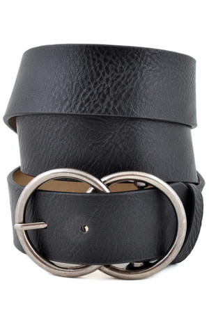 Leatherette Double Round Belt Black