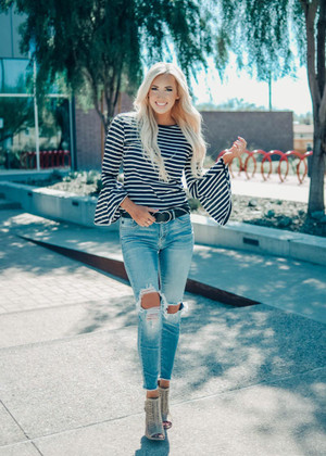 You're Going To Miss Me Striped Belle Sleeve Top Black/White