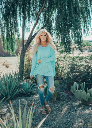 Somewhere Down The Road Oversized Top Turquoise