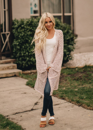 Worth Waiting For Knit Crochet Cardigan Mauve