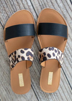 Walk On The Beach Sandal Leopard Print Black