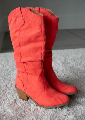 Coral Suede Cowgirl Boots