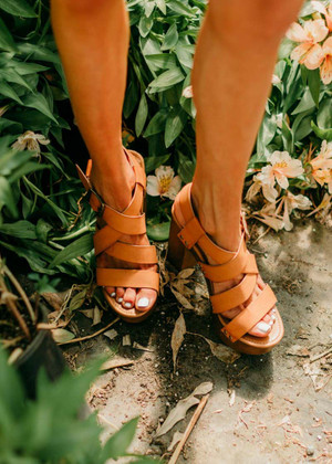 Nothin' Sweeter Stud Accented Chunky Heel Sandals Camel
