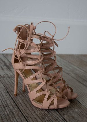 Got What You Need Strappy Lace Up Heels Nude