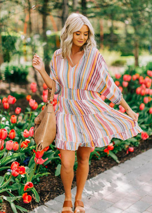 Where I Come From Multi Striped Smocked Dress