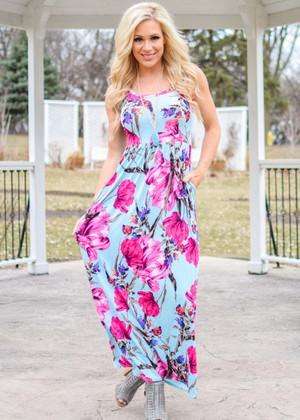 Soak Up The Sun Floral Tank Dress Powder Blue