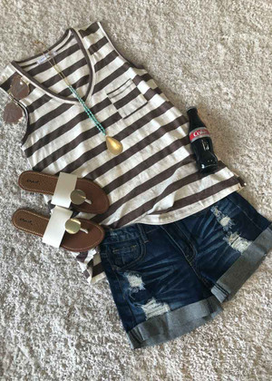 What A Time Striped V Neck Pocket Tank Mocha