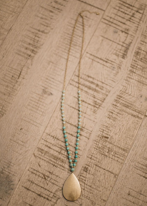 Gold Tear Drop Long Beaded Necklace Turquoise