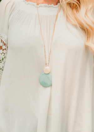 Round Natural Stone Pendant Long Necklace Turquoise