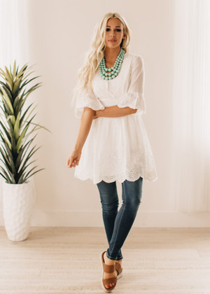 The Dolly Eyelet Lace Tunic/Dress White