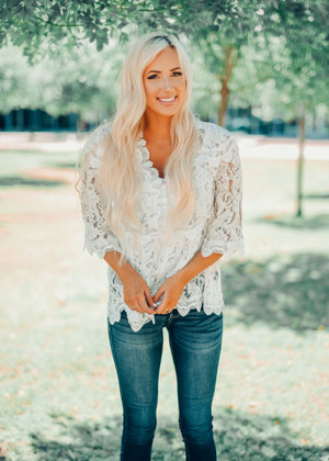 Lace See Through Overlay Top Ivory