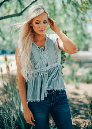 Soft Babydoll Lace Peplum Top Gray