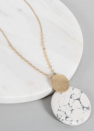Round Natural Stone Pendant Long Necklace Marble
