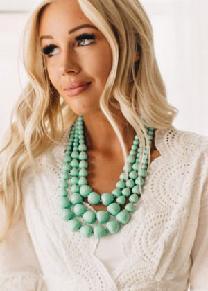 Mint Triple Layer Necklace CLEARANCE