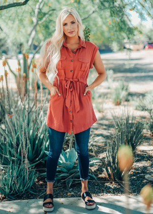 Rust Button Up Cinched Tunic Dress