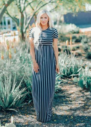 Striped Cap Sleeve Maxi Dress Black