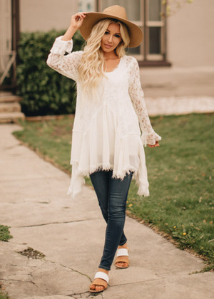 Worth More Than Anything Lace Tunic Cream