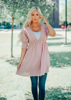 Mauve Eyelet Embroidered Babydoll Dress