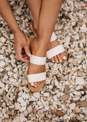 White Double Strap Sandal CLEARANCE