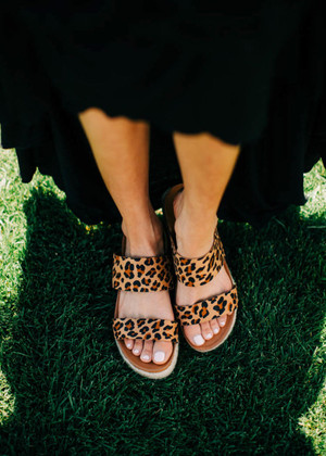 The Aiden Wedge Sandals Leopard CLEARANCE