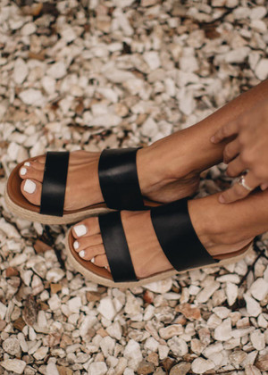 The Aiden Wedge Sandals Black CLEARANCE