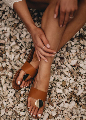 Medallion Sandals in Cognac CLEARANCE