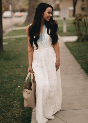 Beautiful Scalloped White Eyelet Maxi Dress