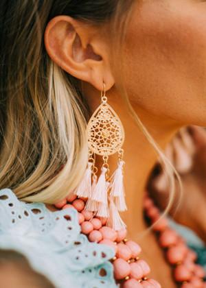 Filigree Chandelier Tassel Earrings Peach
