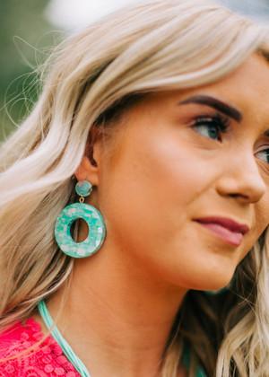 Open Round Shell Drop Earrings Mint CLEARANCE