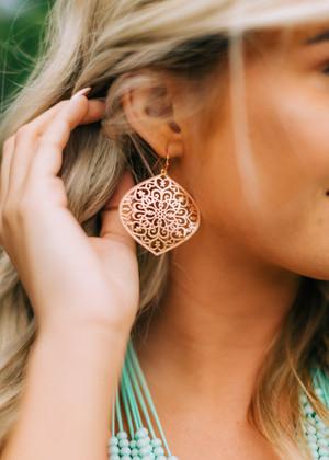 Brass Filigree Metal Earrings Rose Gold