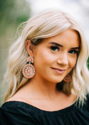 Tribal Teardrop Cluster Statement Earrings Pink CLEARANCE