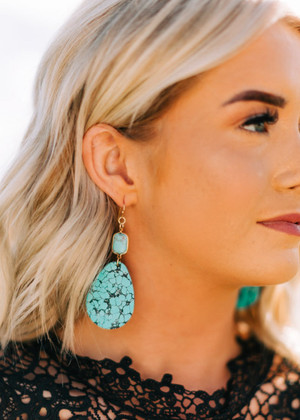 Rectangle Natural Stone Wood Dangle Earrings Turquoise