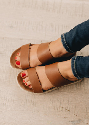 The Aiden Wedge Sandals Tan CLEARANCE