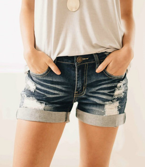 Perfect Distressed Rolled Up Denim Shorts CLEARANCE