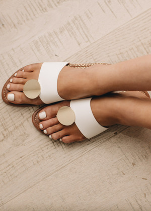 Medallion Sandals in White CLEARANCE