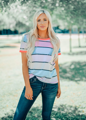 Striped Top With Neon Trim Lavender/Pink