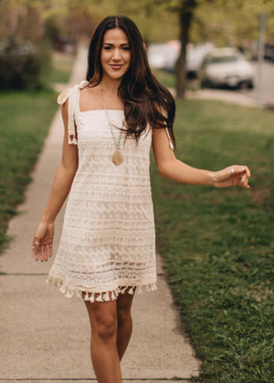 Lace and Grace Tie Strap Dress Ivory