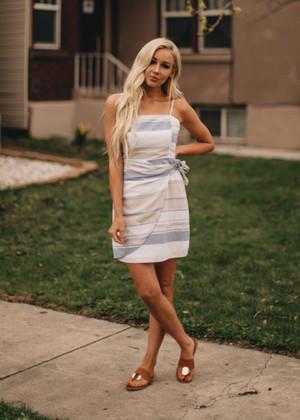 Striped Drape Bow Dress Blue/Ivory CLEARANCE