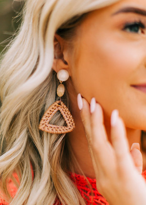 Triangle Straw Drop Earrings Brown CLEARANCE