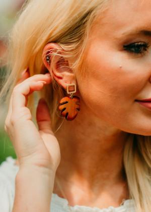 Wooden Leaf Drop Earrings Dark Brown CLEARANCE