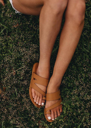The Shoreline Sandals Cognac CLEARANCE