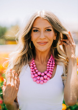 Pink Triple Layer Necklace