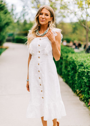 Eyelet Flounce Button Down Midi Dress Off White