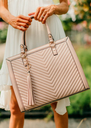 Blush Chevron Print Purse With Tassel