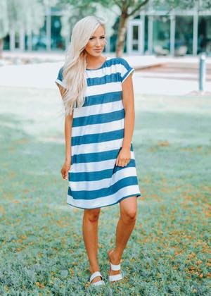 Chillin Striped Pocket Dress Navy