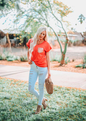 Coral Top With Sequin Pocket