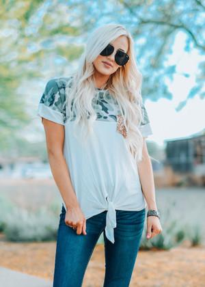Camo Tie Top With Sequin Pocket White