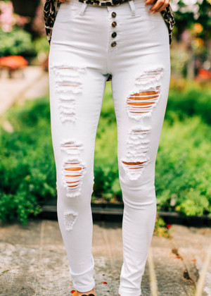 Skinny Destroyed Distressed High Denim Jeans White